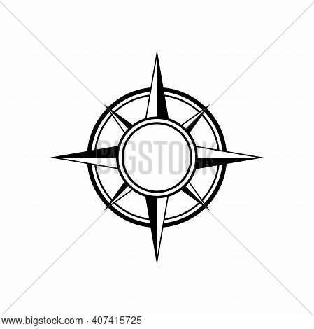 Flat Black Compass Frame Isolated On White. Compass Traveler Sign. Vector Flat Illustration. Orienta