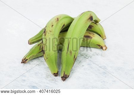 Green Plantain - Superfood; Photo On Neutral Background.