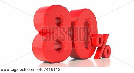 Sale 80% Special Offer Isolated On White Background. 80% Off Discount Promotion. 3D Illustration.