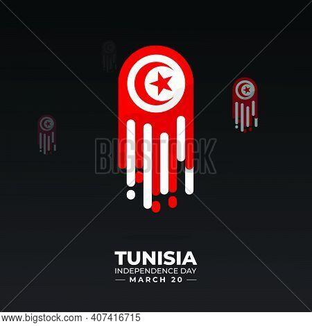 Flying Tunisian Flag Emblem. Good Template For Tunisian Independence Day Design.