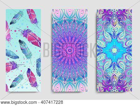 Yoga Card, Flyer, Poster, Mat Design. Colorful Template For Spiritual Retreat Or Yoga Studio. Orname