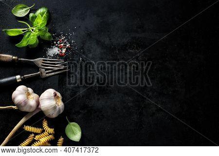 Food Background. Italian Cuisine. Ingredients On Dark Background. Cooking Concept. Cooking Backgroun