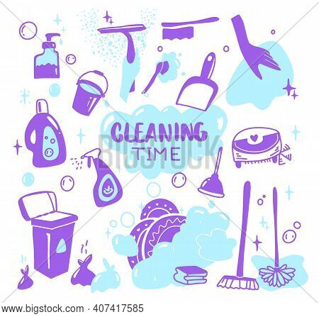 Cleaning Supplies Doodle Isolated On White. Cleaning Supplies, Bottles, Spray, Sponge, Brush, Gloves