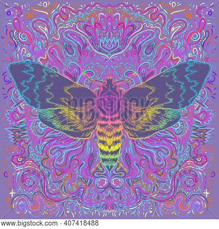 Moth Over Mandala. Beautiful Vintage Round Pattern. Vector Illustration. Psychedelic Neon Compositio