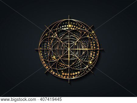 Sacred Geometry Gold Symbol, Seed Of Life Sign. Geometric Mystic Luxury Mandala Of Alchemy Esoteric