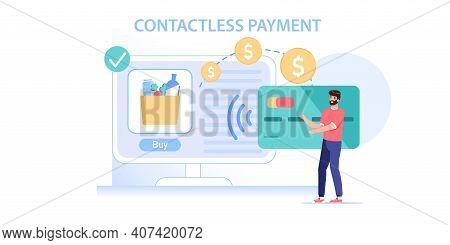 Vector Cartoon Flat Man Character Makes Nfc Contactless Payment.happy Customer Buy Goods Online, Mak
