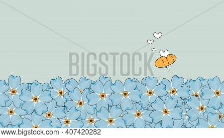 Seamless Outline Vector Repeat Border Spring And Summer Pattern. Blue Cute Forget-me-not Flowers On