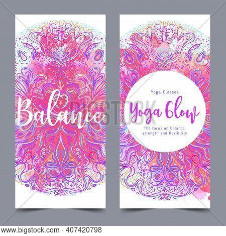 Yoga Card, Flyer, Poster, Mat Design. Colorful Design Template For Spiritual Retreat Or Yoga Studio.