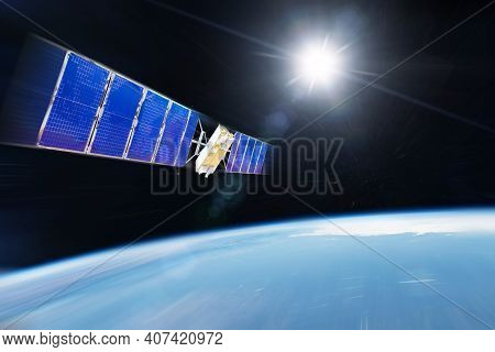 Orbiting Communications Satellite And Other Researchers With Probes Rushes Motion Blur Speed Into Ea