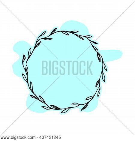 Leaves Hand Drawn Frame. Botanical Vector Frame. Floral Background. Delicate Floral Wreath Illustrat
