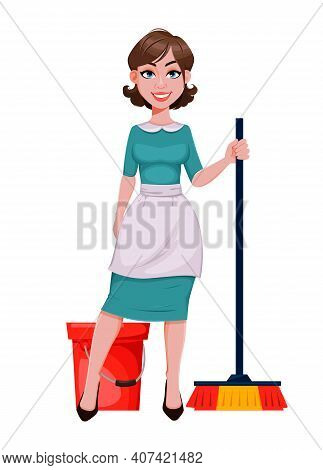 Young Cheerful Housekeeper, Mother, Beautiful Successful Woman. Cheerful Lady In Apron Going To Clea