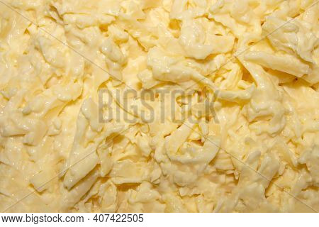 Jewish Salad Cheese With Garlic.grated Cheese With Garlic In Mayonnaise.background Cheese With Garli