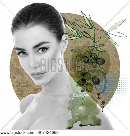 Charming woman with beautiful bright olives artistic background, fashion design ideal for posters, landing pages, covers, labels
