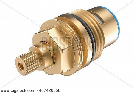 Standard Washer Tap Cartridge, Tap Gland. 3d Rendering Isolated On White Background