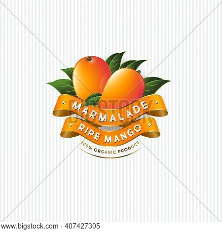 Package Design For Mango Marmalade. Label With Ripe Mangos, Leaves And Silk Ribbons. Premium Product