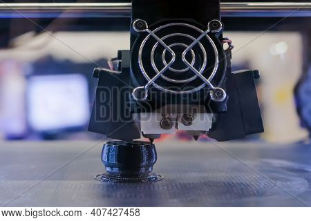 Close Up Front View, : Print Head Of 3d Printer Machine Printing Plastic Model At Modern Scifi Techn