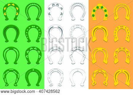 Illustration On Theme Irish Holiday St Patrick Day, Set Color Horseshoes. Pattern St Patrick Day Con