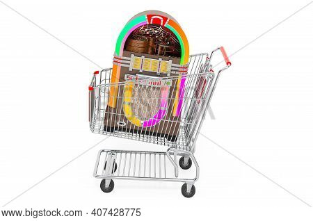 Shopping Cart With Classic Jukebox. 3d Rendering Isolated On White Background