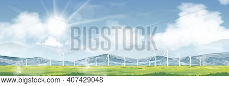 Spring Landscape Windmill On Grass Land,mountain,blue Sky,cloud And Sun ,vector Of Nature Green Fiel