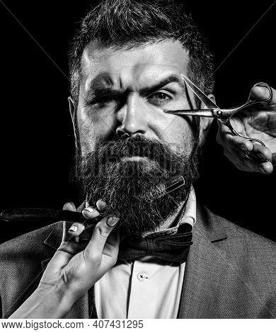 Vintage Barber Shop, Shaving. Portrait Bearded Man. Vintage Barbershop. Bearded Client Visiting Barb