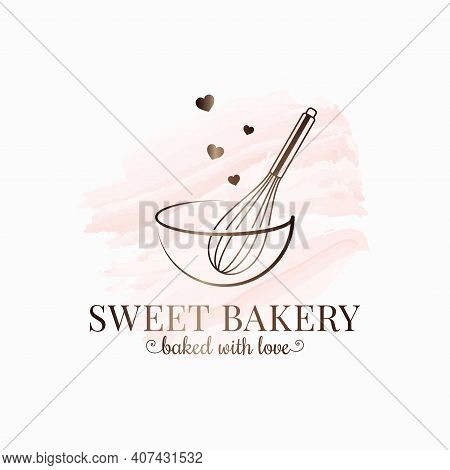 Baking With Wire Whisk Watercolor Logo On White