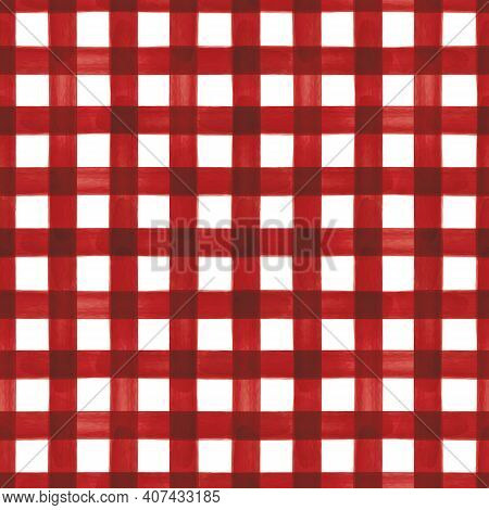 Vector Red Lines Stripes Grid Seamless Pattern