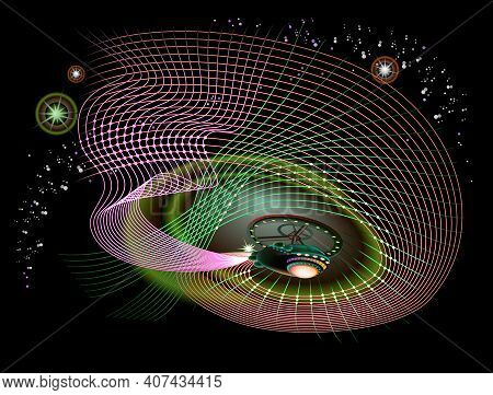 Stylized Quantum Field Theory In Curved Space Time. High Tech Digital Technology. Abstract Artistic