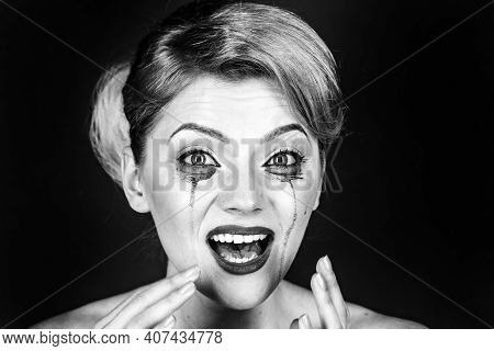 Woman Drama And Shock Concept. Girl Cry With Mascara Streams On Face. Woman With Shocked Face With M