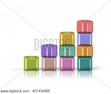 3D colorful cubical elements arranged in stack