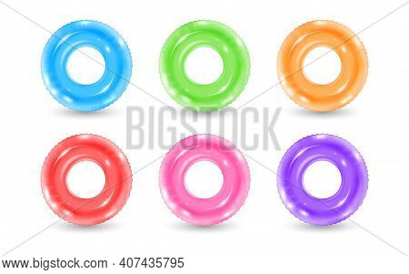 Collection Of Inflatable Rubber Rings. Realistic Swimming Water Park Or Pool Lifebuoy. Vector Illust