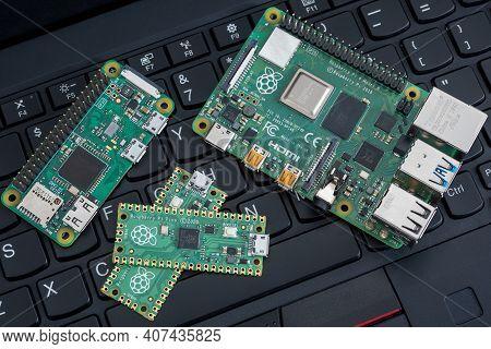 Galati, Romania - February 09, 2021: Close-up Of Raspberry Pi Pico, Raspberry Pi 4B And Raspberry Pi