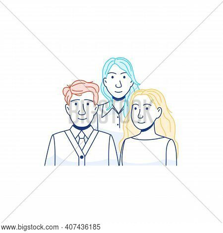 Group Of Young People Line Icon Isolated On White Background. Flat Young Adults Persons. Man Woman P