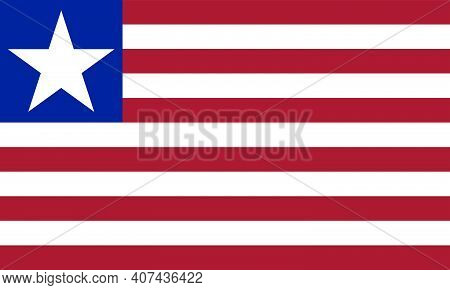 Liberia Flag Vector Isolated On Transparent Background. Based On The Us Flag, The Liberian Ensign Ha