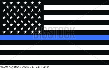 Police Thin Blue Line Flag. The Flag Symbolizes Pride In The Police And Law Enforcement Officers.