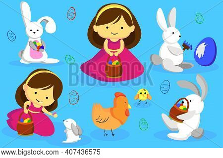 Easter Bunny And Easter Eggs. Happy Easter. Chicken, Bunny And A Girl.