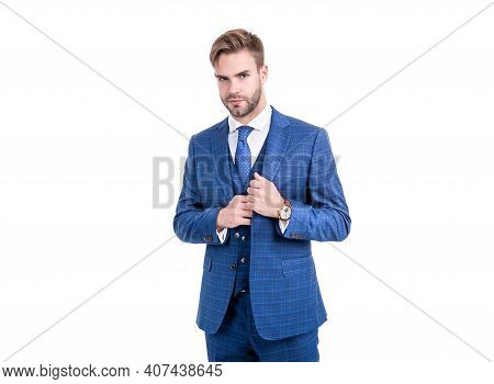 Unshaven Office Worker Wear Navy Three-piece Suit In Formal Business Style Isolated On White, White