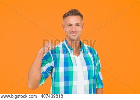 Go Forward. Man Happy Cheerful Face Support Or Motivate. Guy Happy Emotional Expression. Approve And