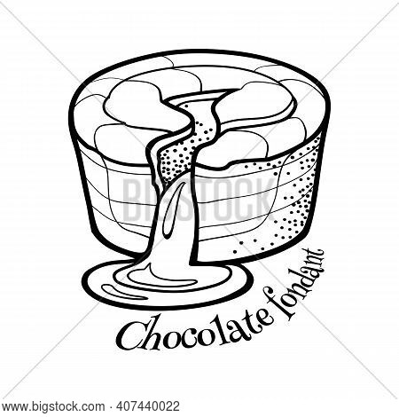 French Dessert Chocolate Fondant. Traditional Cake . Vector Outline Illustration In Doodle Style For