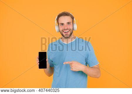 Listen For Free. Enjoy Music Concept. Best Music Apps That Deserve Listen. Guy Modern User Mobile Ap