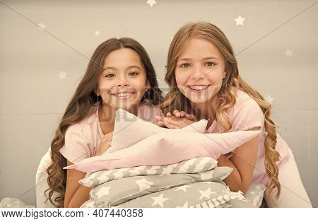 Pajamas All Day. Happy Morning. Cute Cozy Bedroom For Small Girls. Sisters Having Fun Bedroom Interi