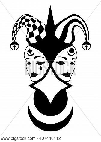 Abstract Illustration Of Dramatic Comedy And Tragedy Masks In Jester Hat
