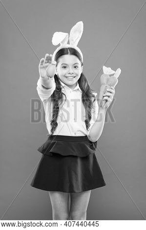 Easter Eggs. Happy Easter. Origins Of Easter Traditions. Small Girl Bunny Ears. Kid On Easter Egg Hu