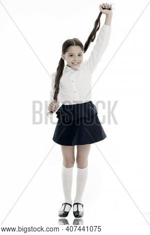 School Time. Its Time For School. School Time For Happy Child Girl Isolated On White. Little Girl Sp