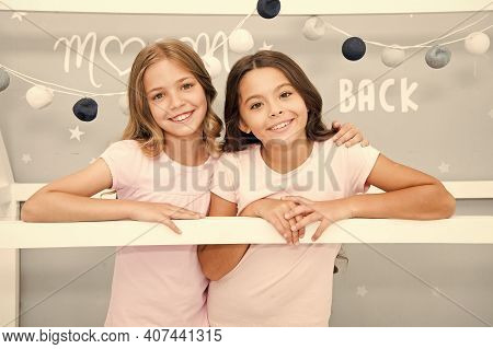 Stay At Home. Pajamas All Day. Happy Morning. Cute Cozy Bedroom For Small Girls. Sisters Having Fun
