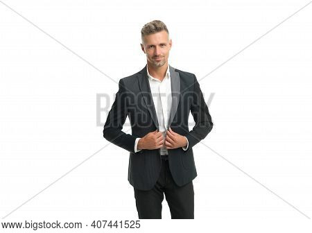 Black Is Optional For Wedding Attire. Man Wear Classy Suit Isolated On White. Formalwear. Party Outf