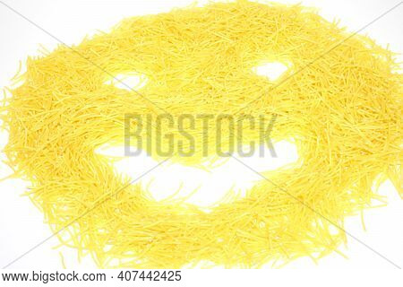 Face Smile From Heap Of Vermicelli Pasta Isolated On White Background