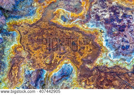 A Top Down Abstract View Of A Riverbed In An Abandoned Mining Area With Mineral And Metal Deposits I