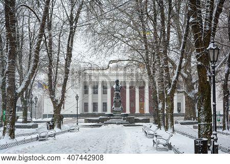 Odessa City Hall On Dumsʹka Square And Monument To Alexander Pushkin, Ukraine. Prymorsʹkyy Bulʹvar.