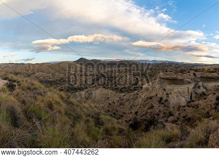 Daybreak In The Tabernas Desert And Mountains In Southern Spain In Andalusia