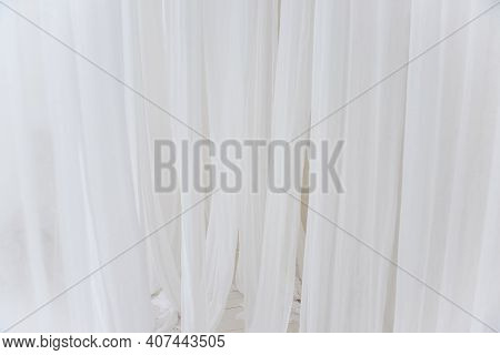 Background Texture Of White, Airy Stripes Of Chiffon Fabric, Tulle. Neutral Colors. Minimalist Inter